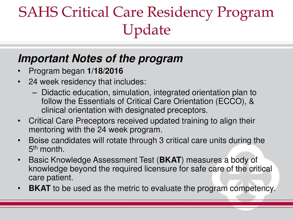 SAHS Critical Care Residency Program - ppt download