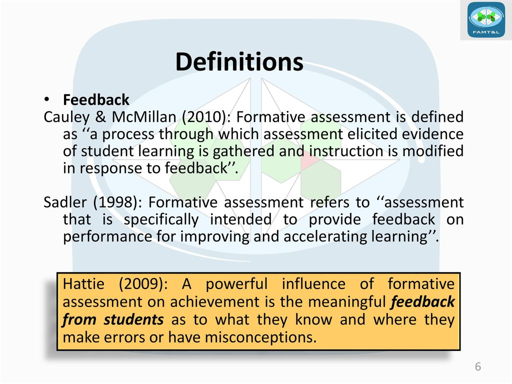 towards a comprehensive meaning for formative assessment: the case