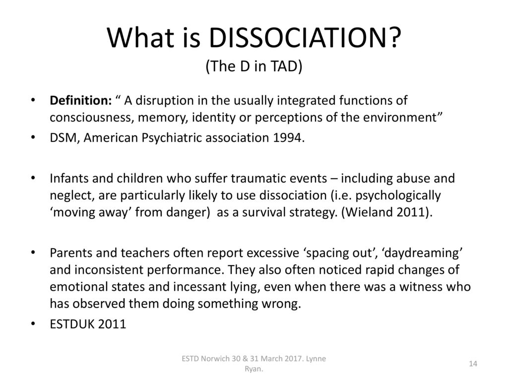 attachment dissociation - ppt download