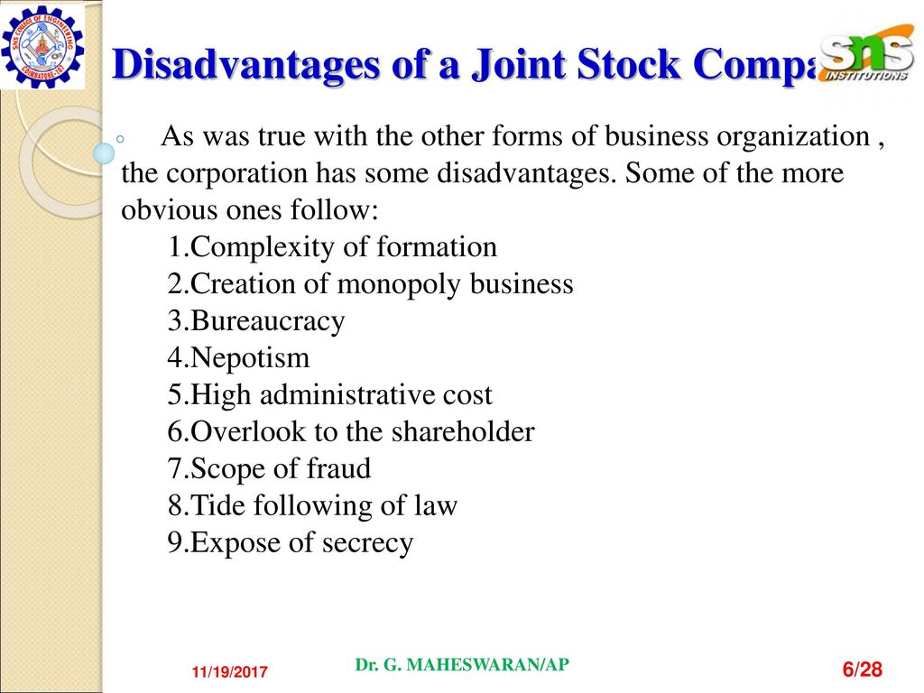 disadvantage of joint stock company