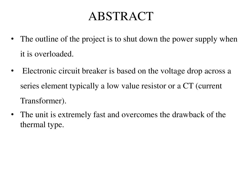 Ultra Fast Acting Electronic Circuit Breaker Ppt Download Watchdog Diagram 2 Abstract