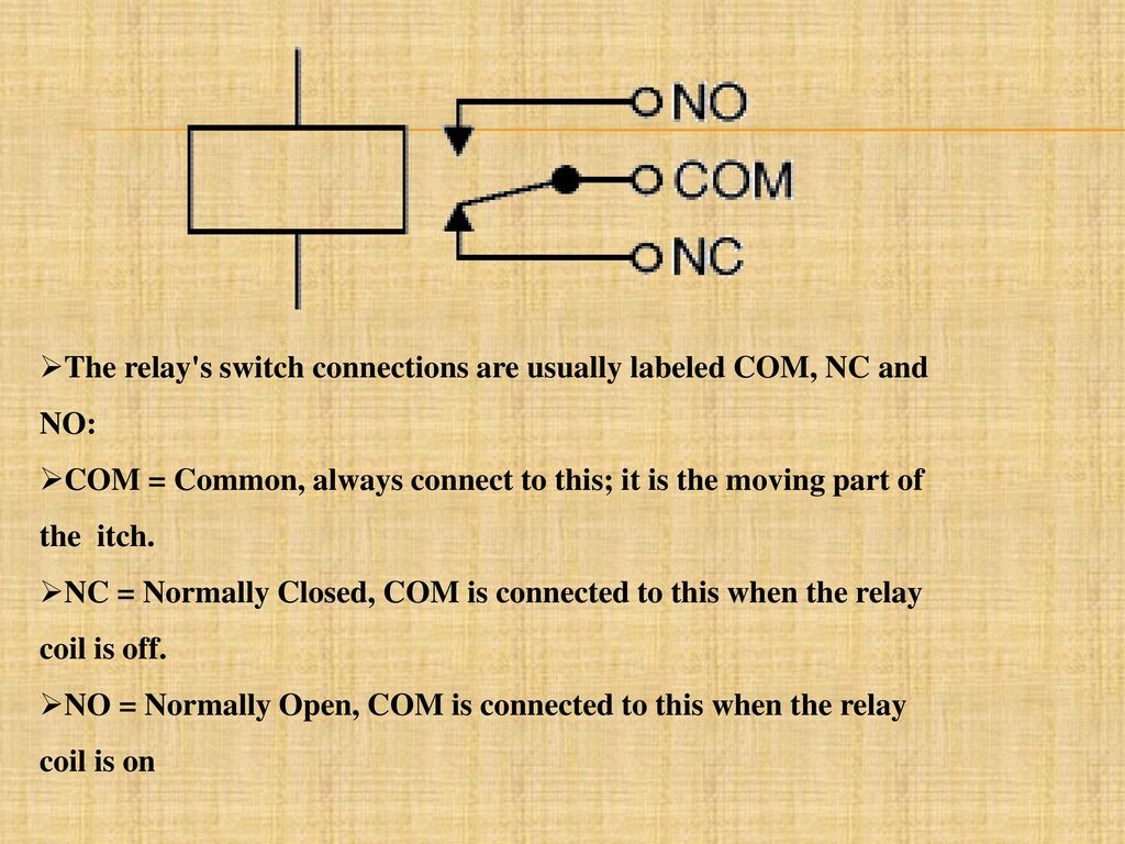 Project Title Password Based Circuit Breaker Control To Ensure Dc Relay Driver Ic Uln2003 The S Switch Connections Are Usually Labeled Com Nc And No