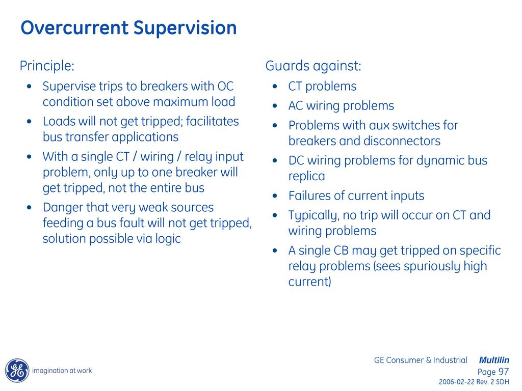 Bus Differential Protection Applications Using The Ge B30 And B90 Current Input Relay 97 Overcurrent Supervision