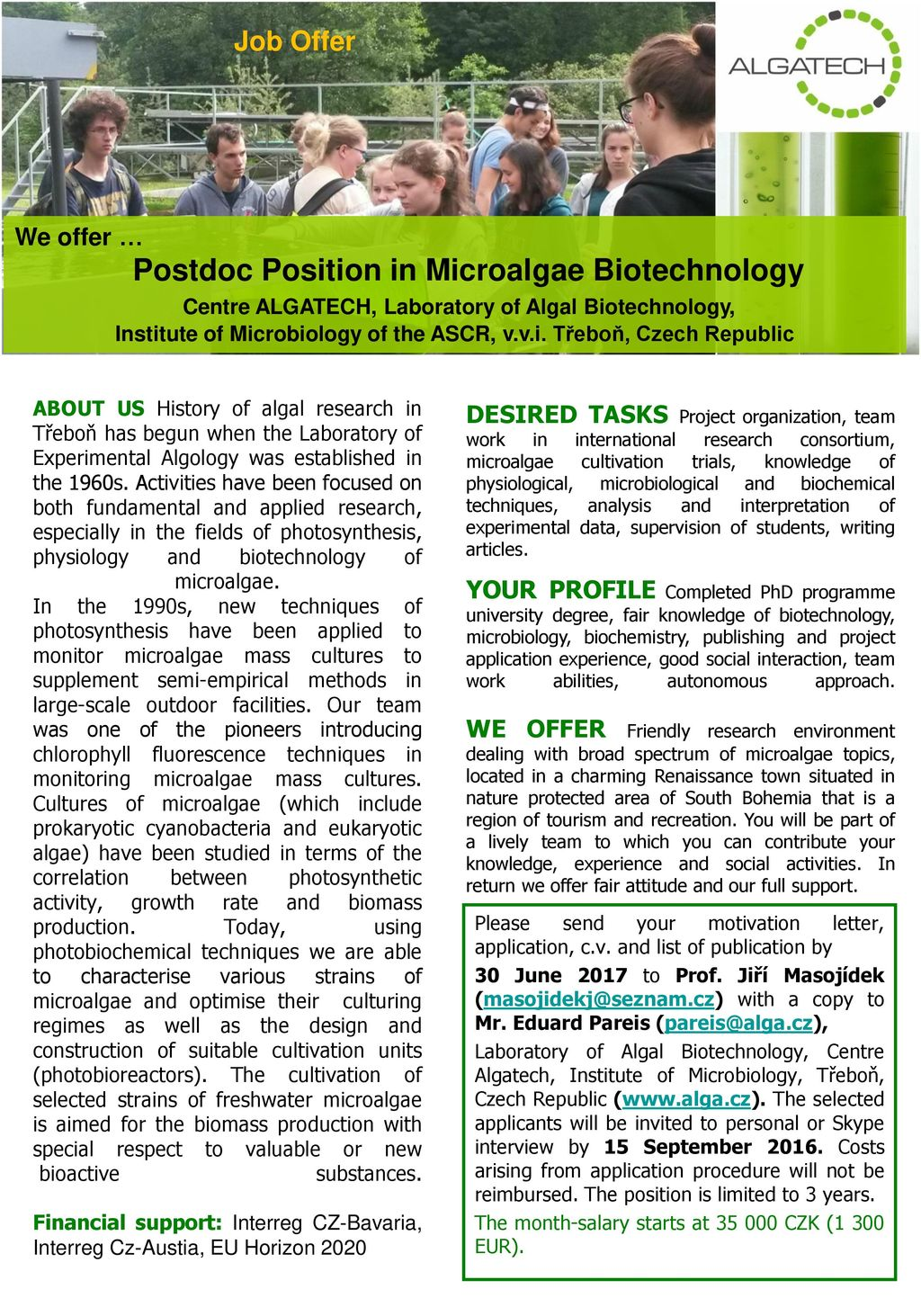 Postdoc Position in Microalgae Biotechnology - ppt download