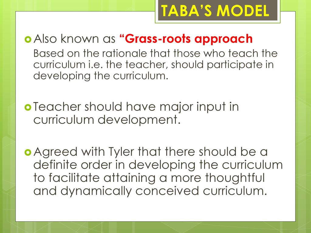 grass root model of curriculum development