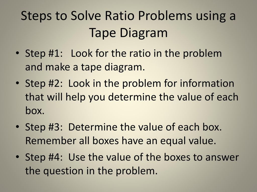 using tape diagrams to solve ratio problems ppt download rh slideplayer com