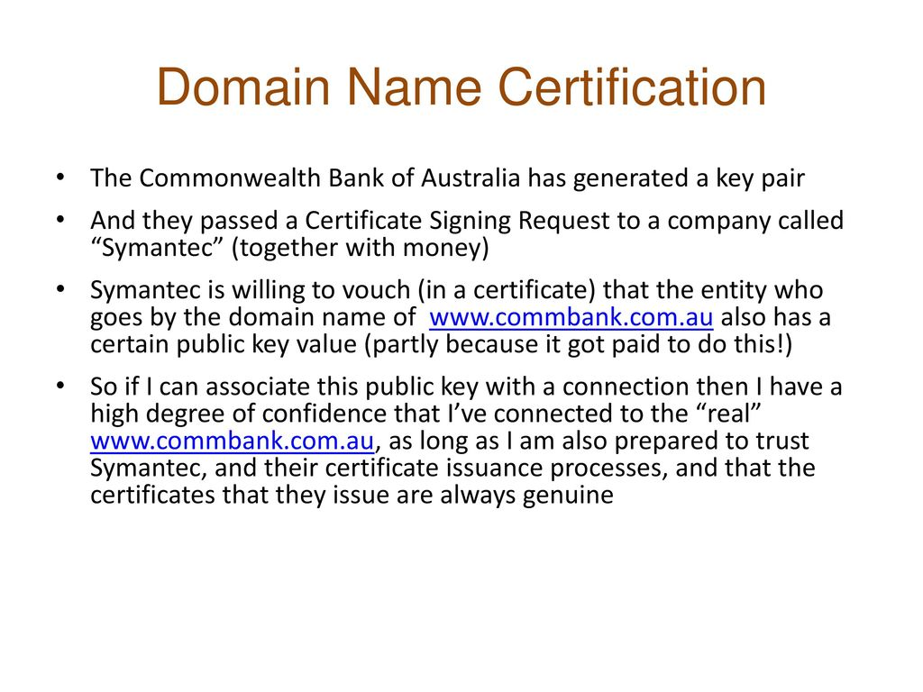 Domain Name Certification