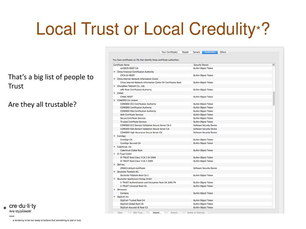 Local Trust or Local Credulity*