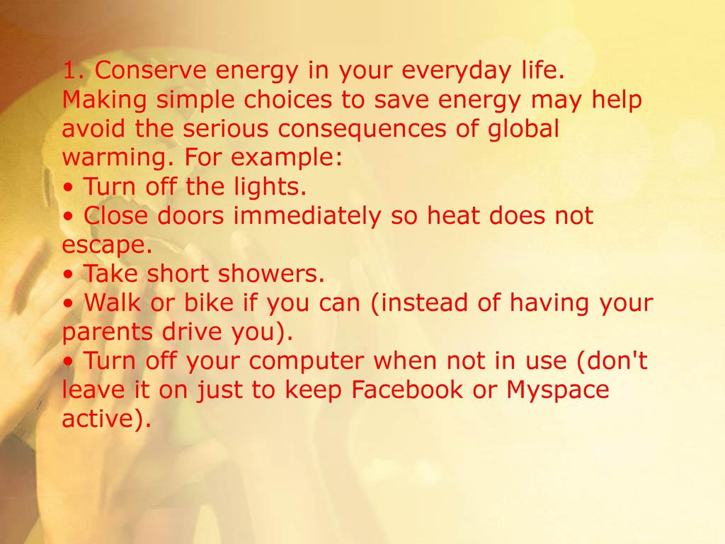 Save Energy in Everyday Life