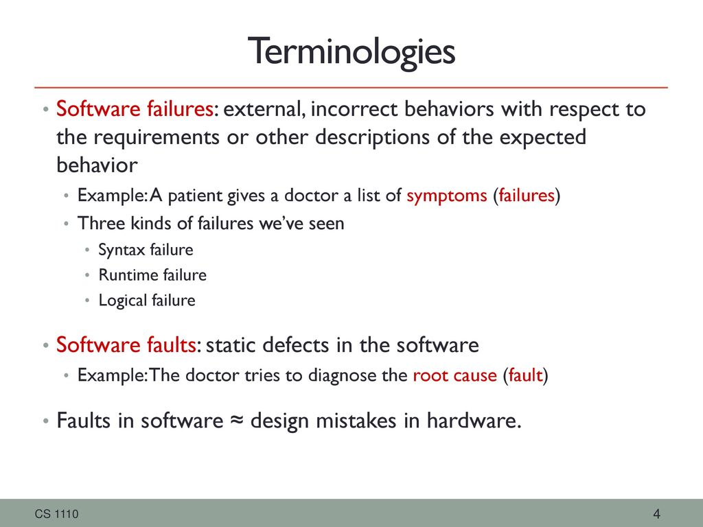 Faults associated with software and examples of fault management.