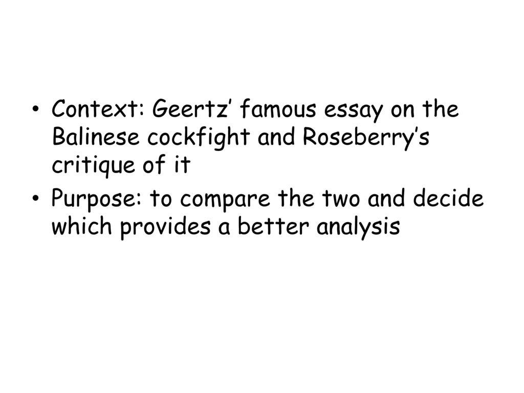 notes on the balinese cockfight summary