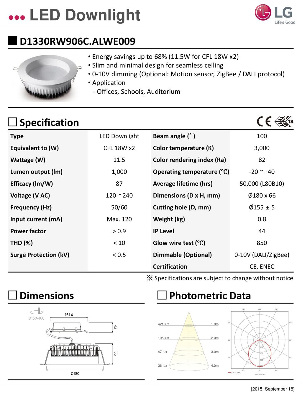Led Downlight D1330rw906calwe009 Specification Dimensions 0 10v Dimming Wiring Diagram