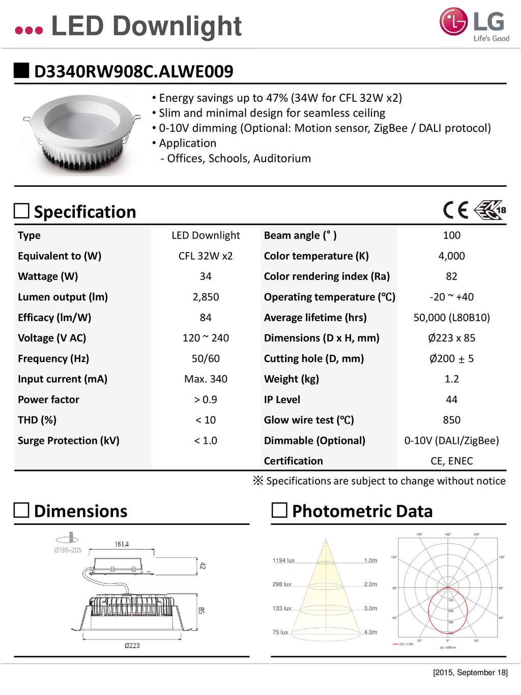 Led Downlight D1330rw906calwe009 Specification Dimensions 0 10v Dimming Wiring Diagram 11