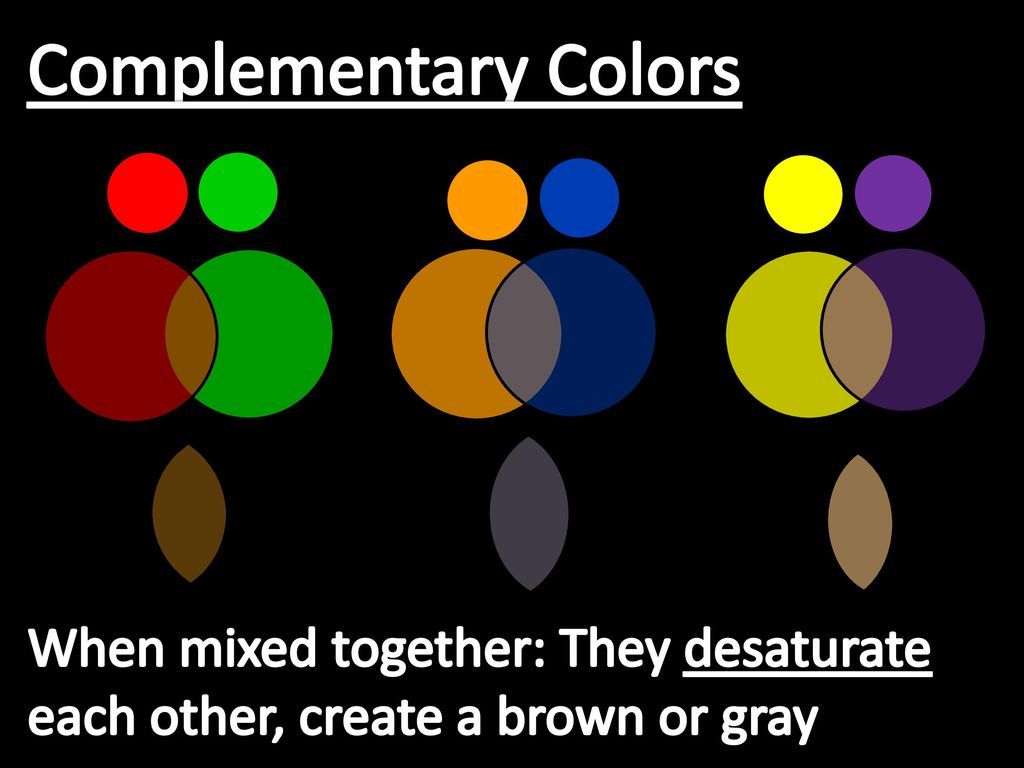 25 Complementary Colors When Mixed Together They Desaturate Each Other Create A Brown Or Gray