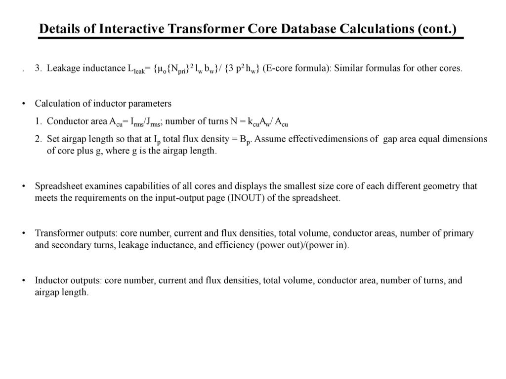 William p robbins dept of electrical and computer engineering details of interactive transformer core database calculations cont keyboard keysfo Gallery