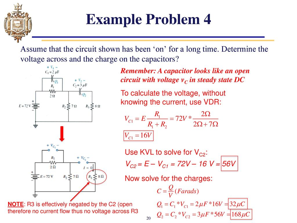 Lesson 11 Capacitors Chapter 10 And Inductors Ppt Capacitor Circuit Example Problem 4 Assume That The Shown Has Been On For A Long