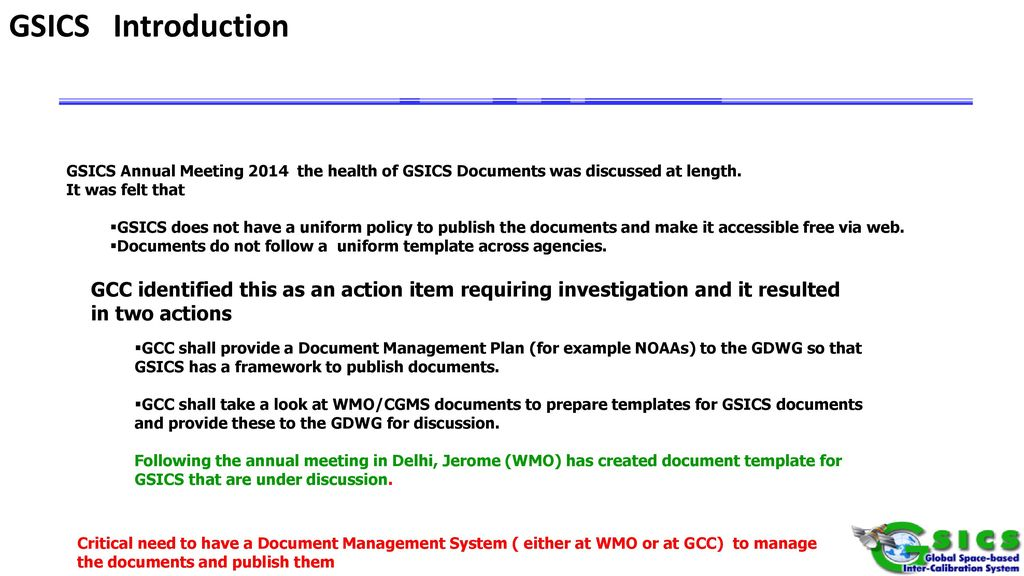 Comments on Template & Document Management System for GSICS - ppt ...