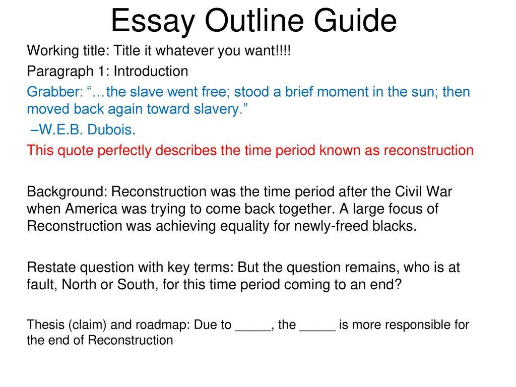 slavery essay outline