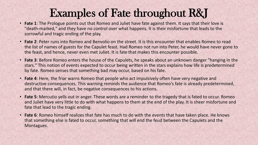 role of fate in romeo and juliet