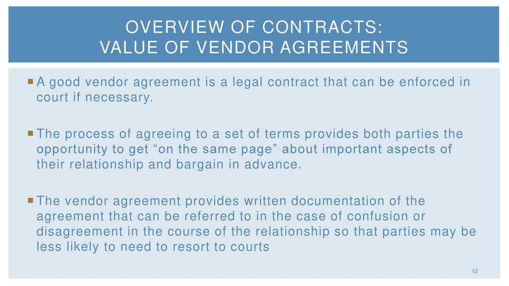 Vendor Agreements Presented By Elizabeth Bellis Kay Joslin Jim Nolan