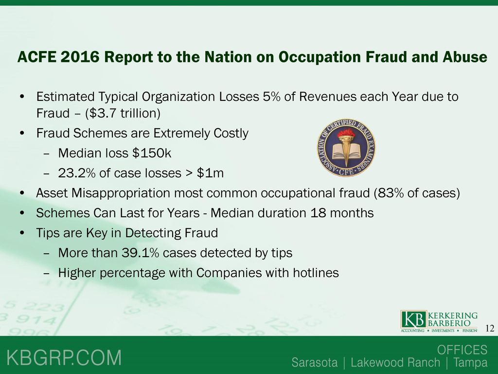 Seminar Outline Fraud And Abuse Acfe Report To The Nation Ppt Download