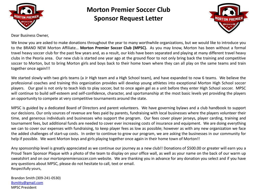 Soccer Tournament Sponsorship Request Letter