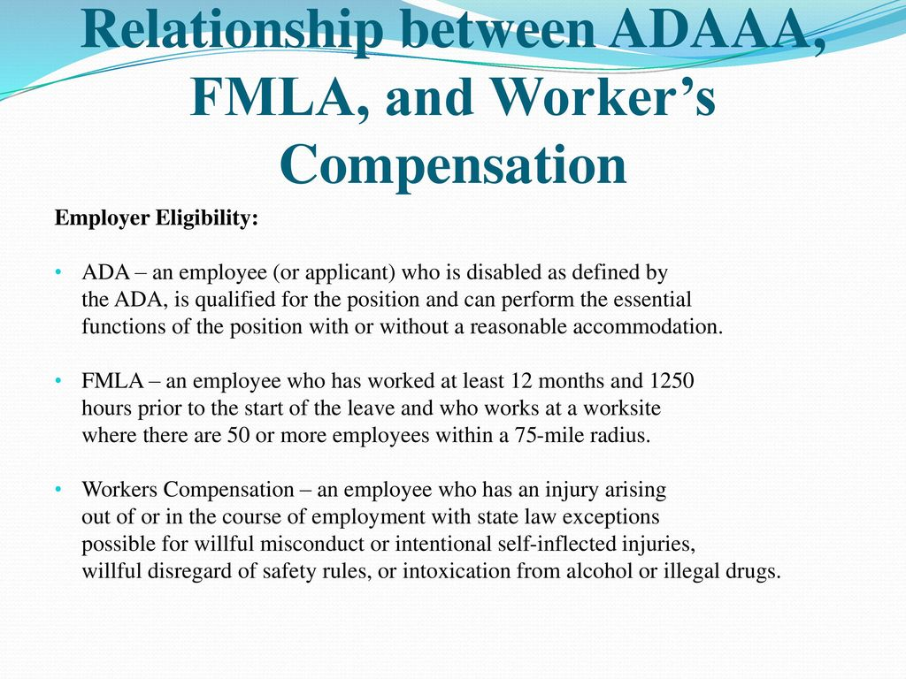 fmla 101 (interplay with fmla, adaaa, & worker's compensation) - ppt