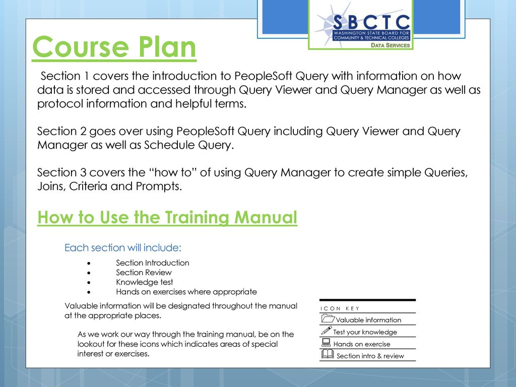Course Plan How to Use the Training Manual