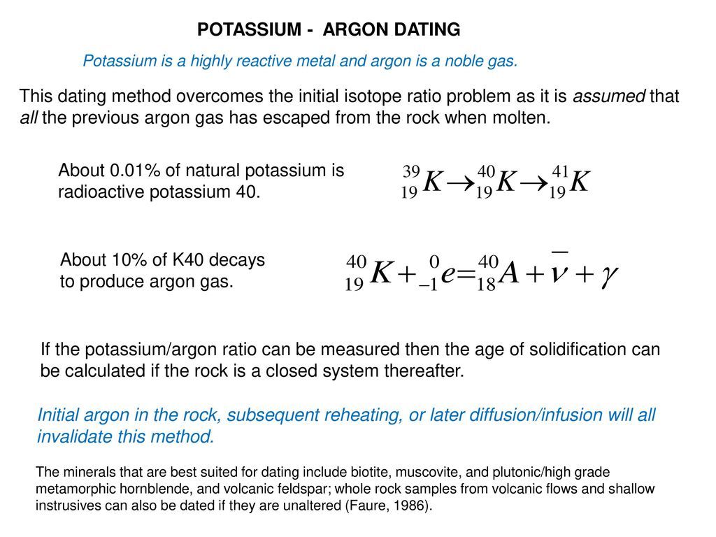 potassium 40 dating method