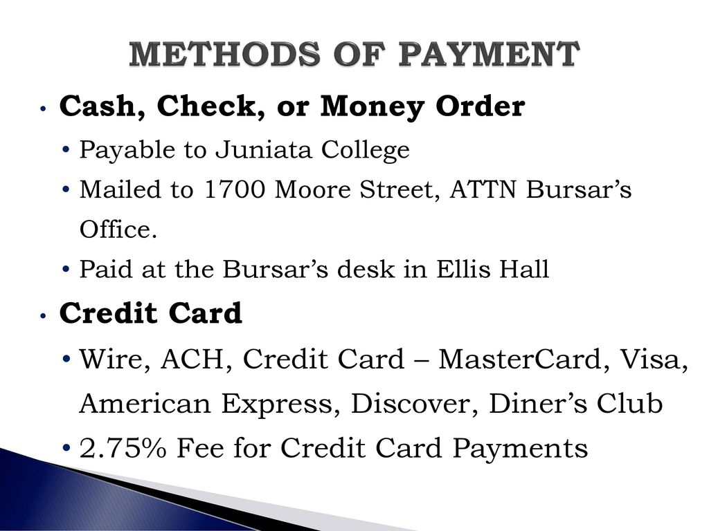 Bursars Office And Financial Aid Session Ppt Download Wiring Money American Express Methods Of Payment Cash Check Or Order Credit Card