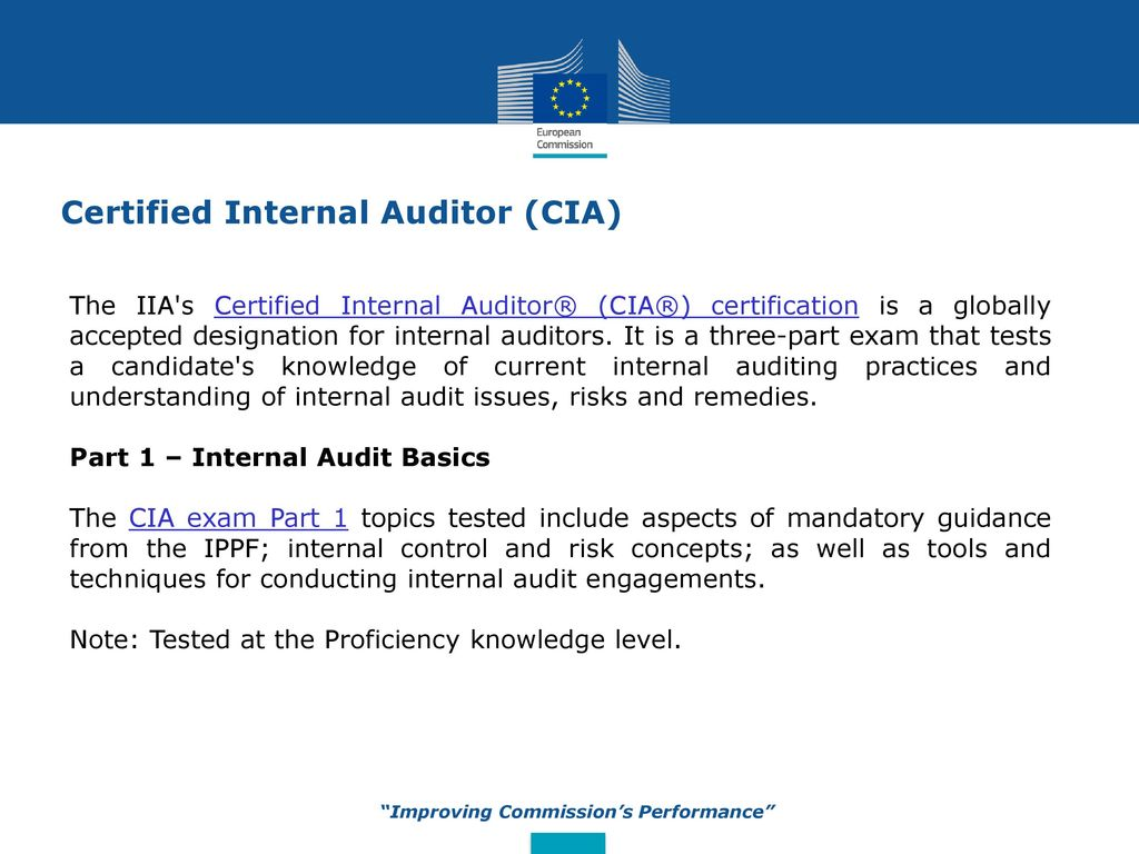 Internal Audit Service Improving The Commissions Performance