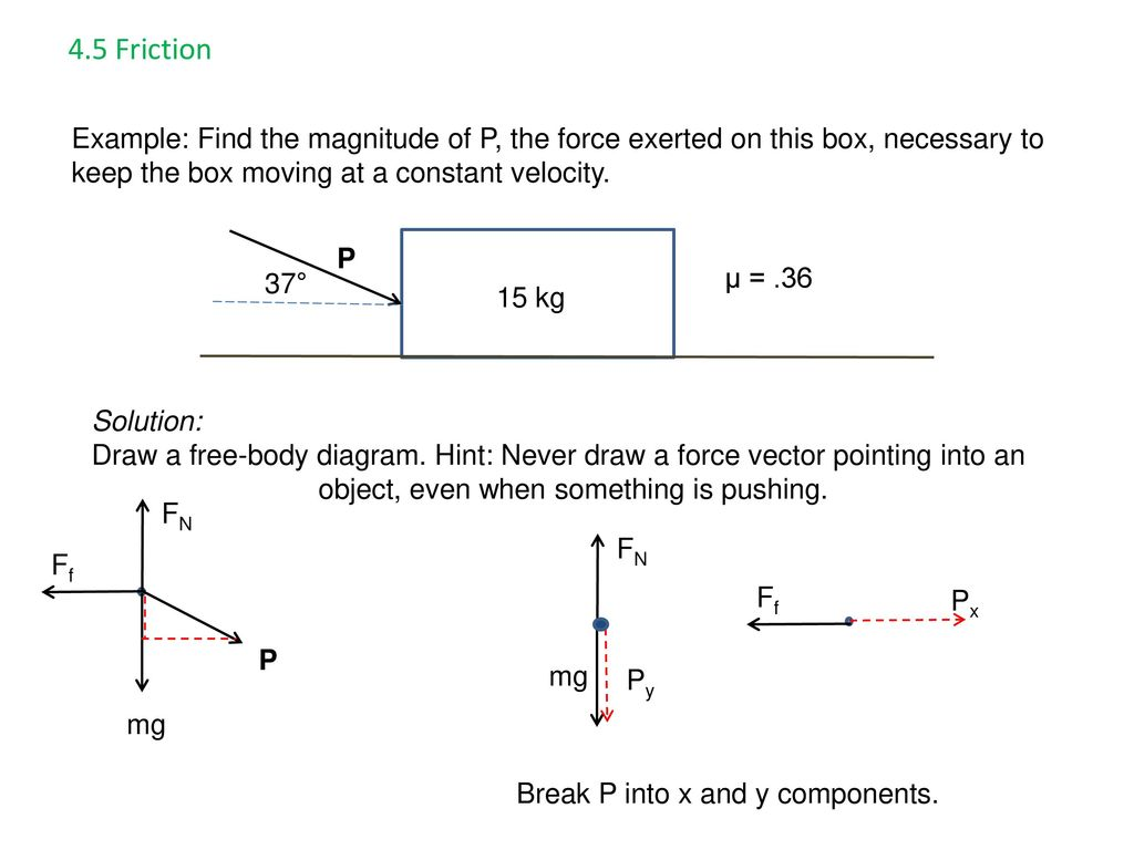 Ap Physics Chapter 4 Force And Motion Ppt Download How To Draw A Free Body Diagram 45 Friction Example Find The Magnitude Of P Exerted On This Box