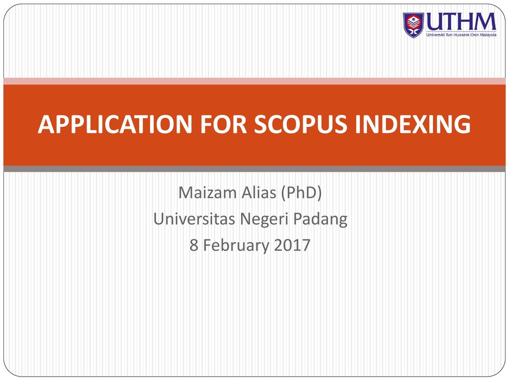 APPLICATION FOR SCOPUS INDEXING - ppt download