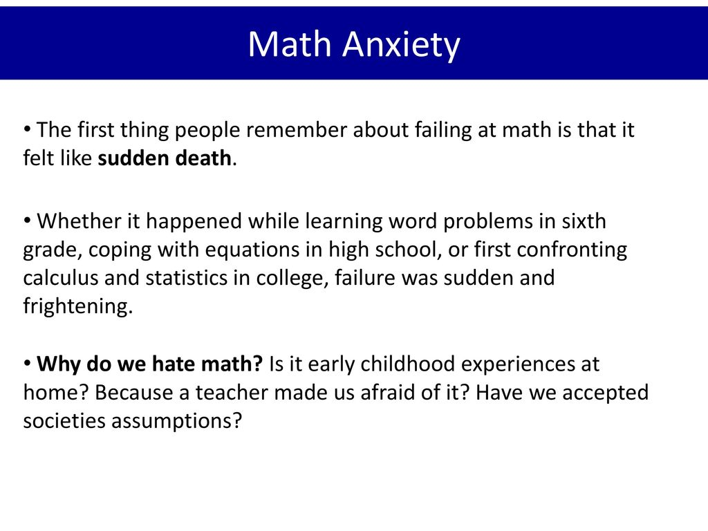Overcoming Math Anxiety - ppt download