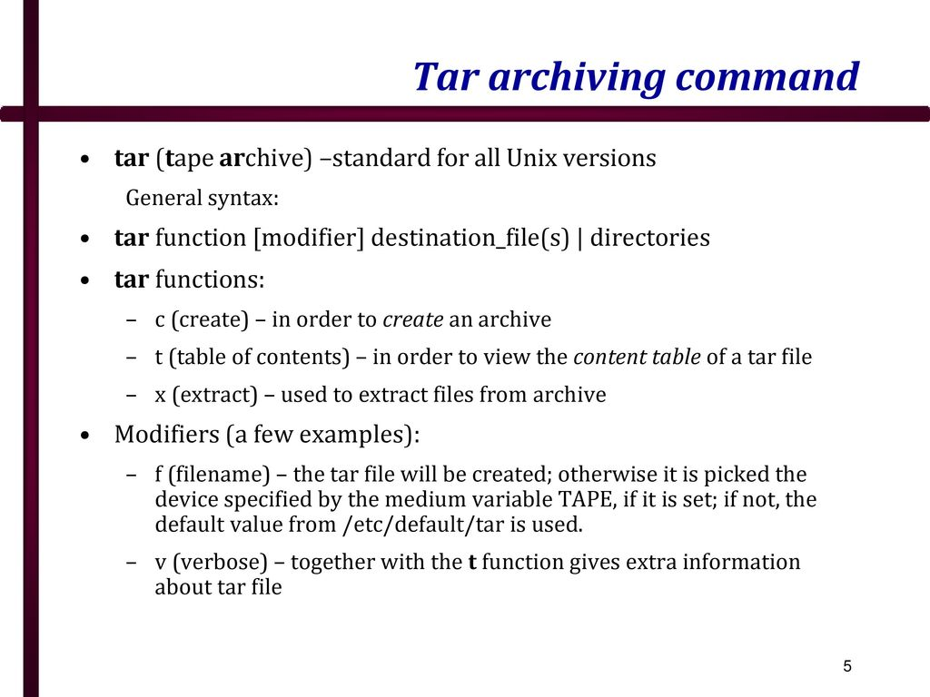 how to extract archive files in unix
