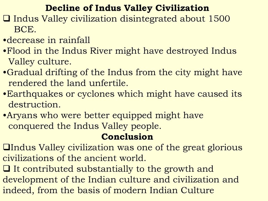 why did the indus civilization decline