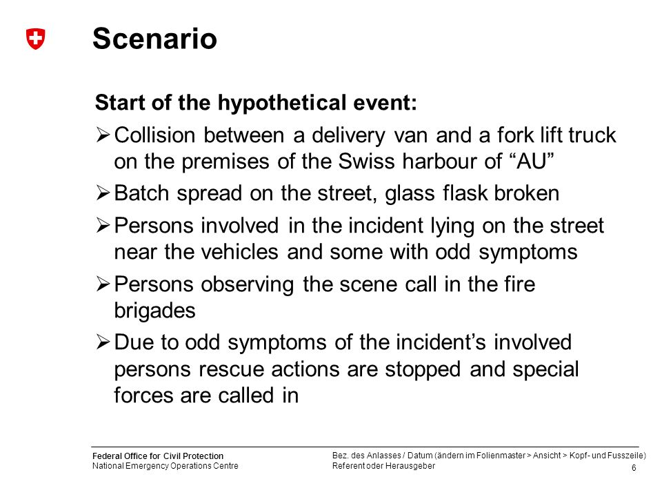 Scenario Start of the hypothetical event: