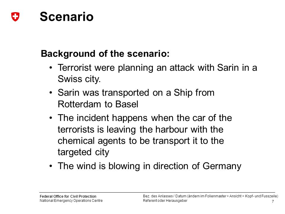 Scenario Background of the scenario: