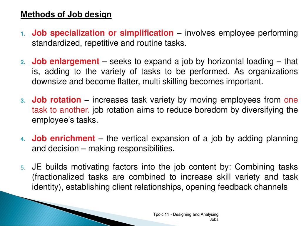 Designing And Analysing Jobs Ppt Download