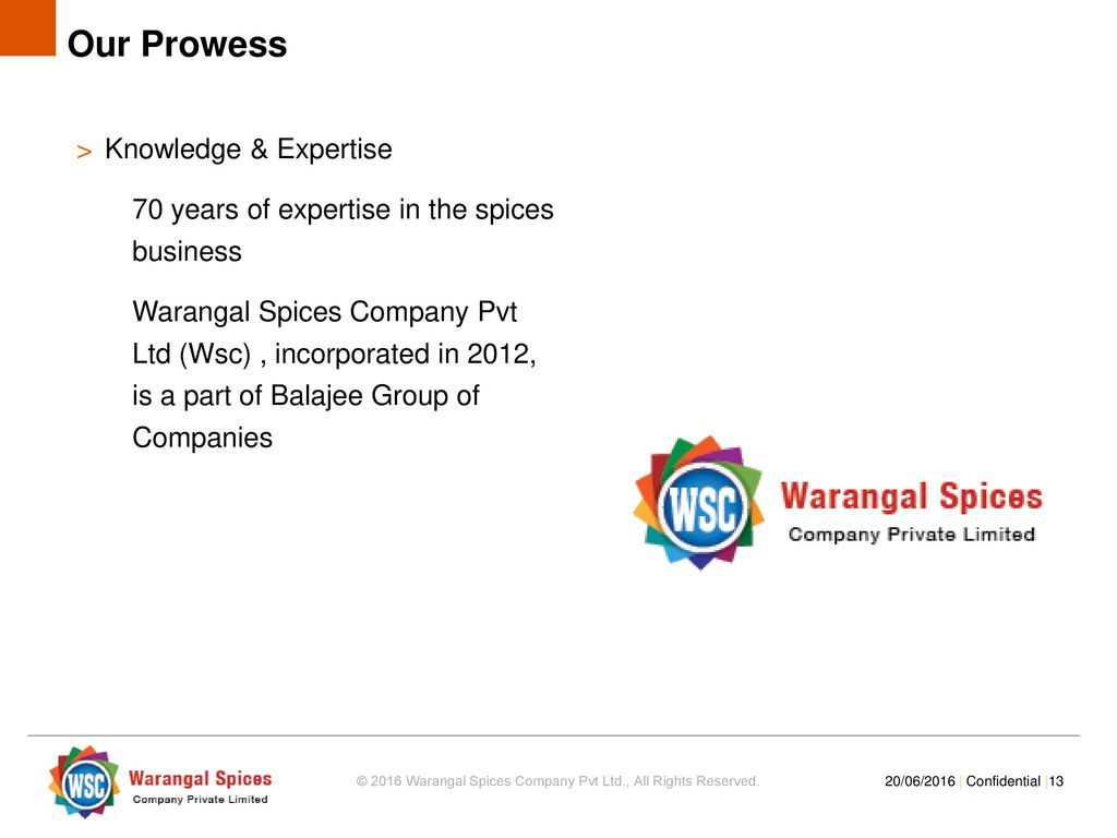 Project Overview © 2016 Warangal Spices Company Pvt Ltd , All Rights