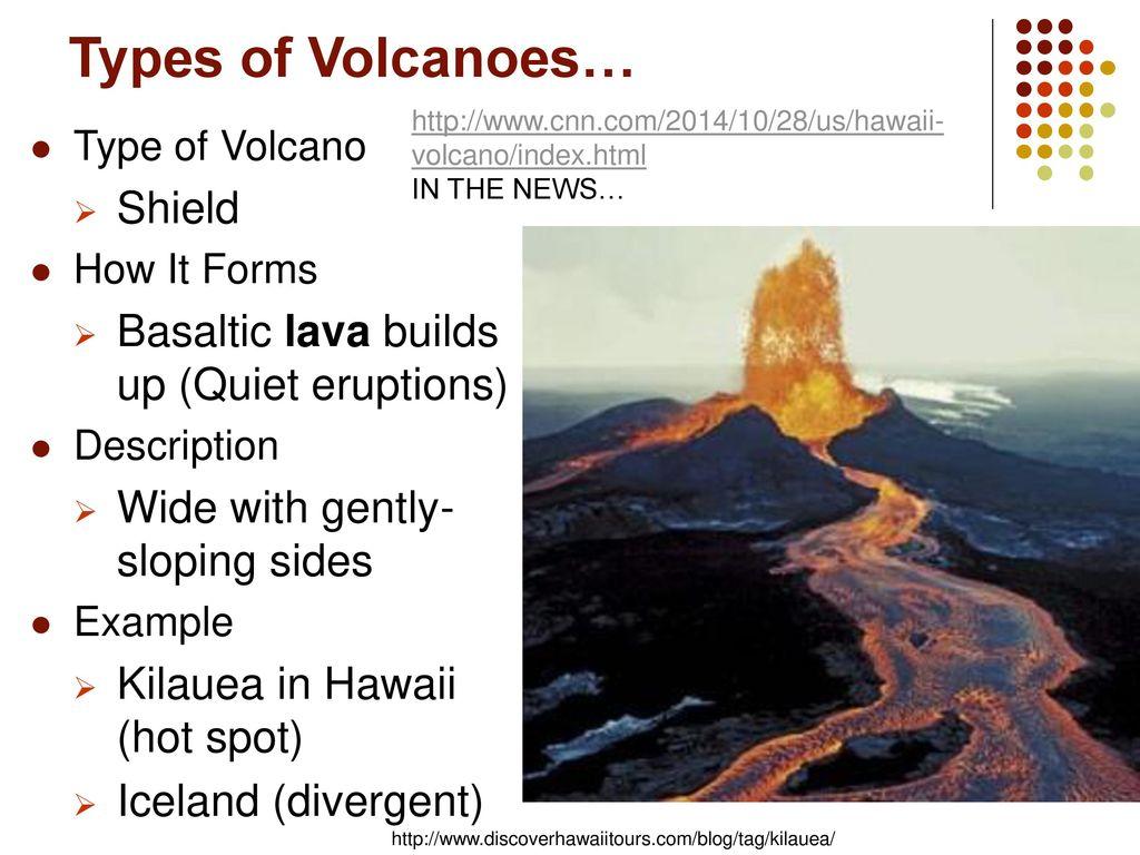 Chapter 18 Volcanic Activity Ppt Download Volcano Diagram Shield Volcanojpg Types Of Volcanoes Basaltic Lava Builds Up Quiet Eruptions