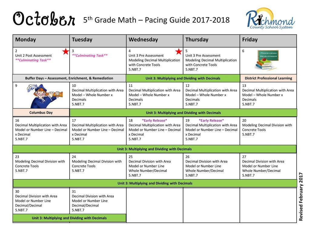 5th Grade Math – Pacing Guide