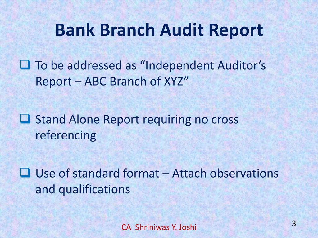 Audit report certificates ppt download bank branch audit report altavistaventures Image collections