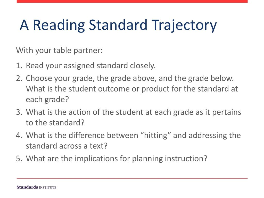 A Reading Standard Trajectory