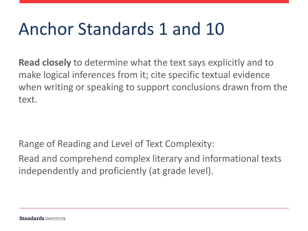 11/28/2017 Anchor Standards 1 and 10.