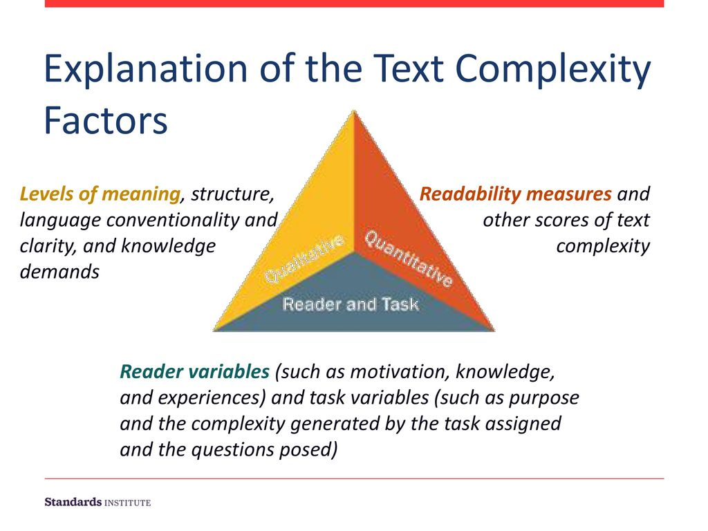 Explanation of the Text Complexity Factors