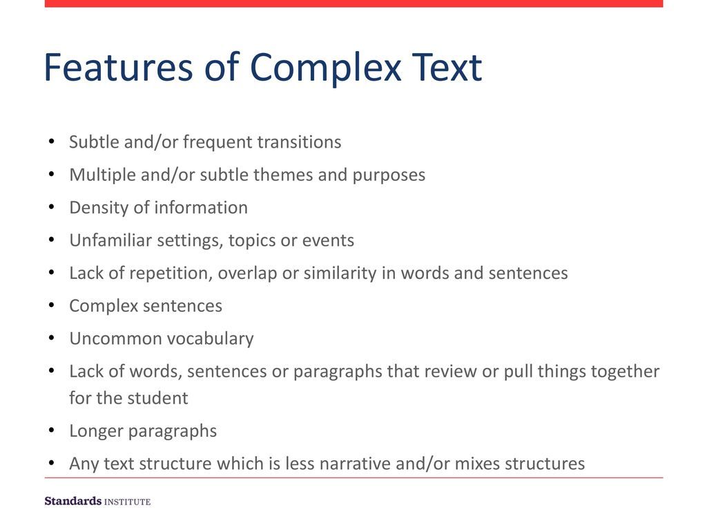 Features of Complex Text