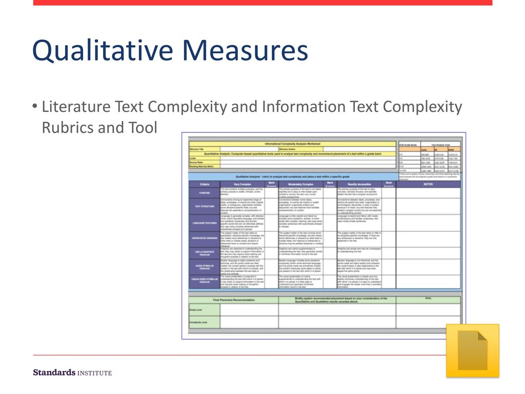 Qualitative Measures. Literature Text Complexity and Information Text Complexity Rubrics and Tool.