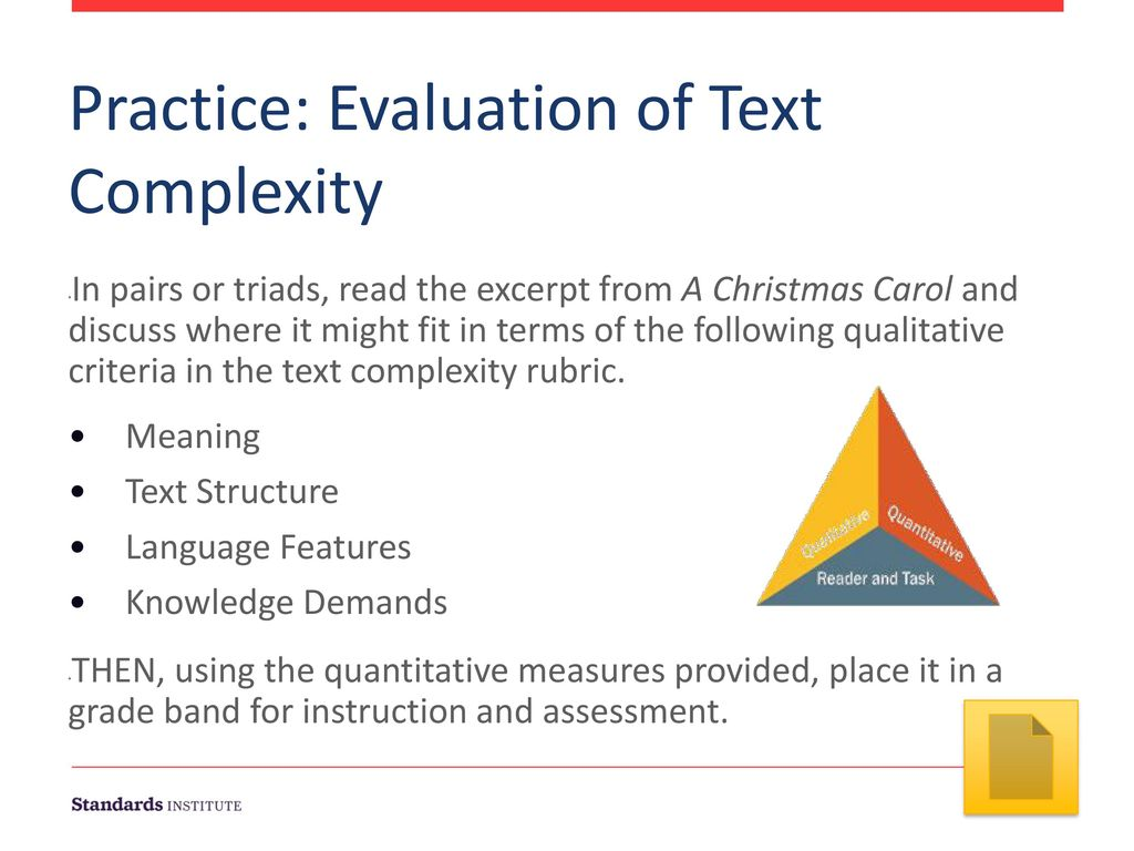 Practice: Evaluation of Text Complexity