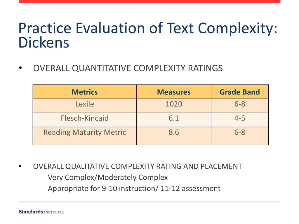 Practice Evaluation of Text Complexity: Dickens